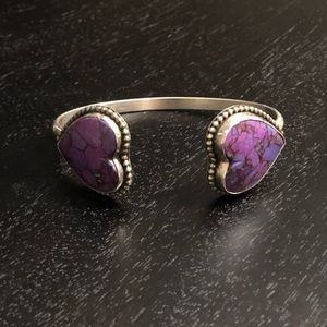 Sterling silver cuff with Mohave purple turquoise